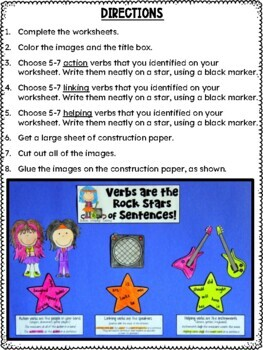 Verbs Craftivity: Action Verbs, Linking Verbs, and Helping Verbs