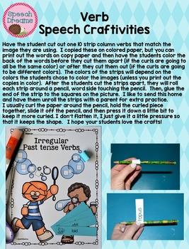 Verb Crafts {Irregular Past Tense Regular Past Tense Action verbs Unit}