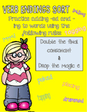 Verb Endings Sort with Double Final Consonant and Magic E Rules