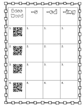 Verb Endings: -s, -ed, -ing *Word Hunt* & QR CODE option!!!