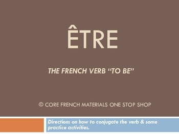 Verb Etre Notes for a Lecture