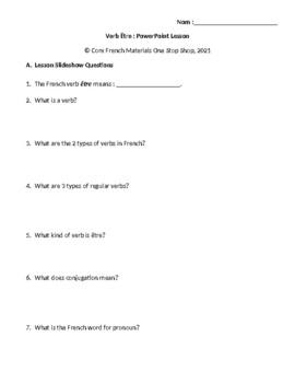 """Verb """"Être"""" Student Handout for PowerPoint Lesson"""