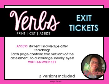 Verb Exit Tickets