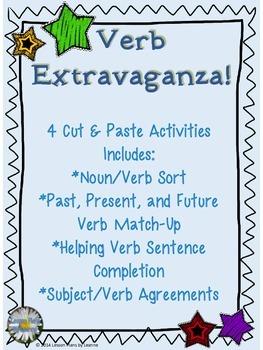 Verb Extravaganza - 4 Cut & Paste Activities
