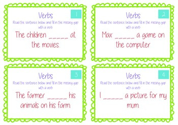 Verb - Fill in the missing gap Task Cards - Differentiated