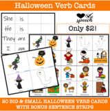 Verb Flash Cards (Big and Little Cards) for Halloween LOW PREP