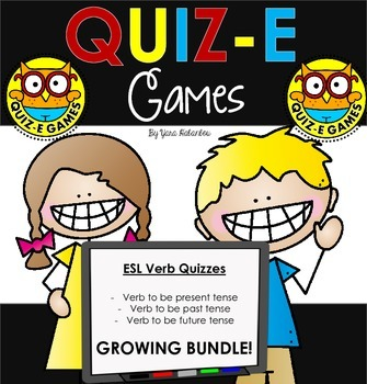 Verb Forms & Conjugations ESL Expanding Bundle For Use in Quiz-E Games