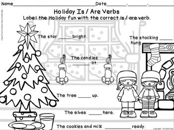 Verb Freebie Is/Are Verb Holiday Fun