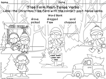 Verb Freebie Past-Tense Christmas Tree Shopping