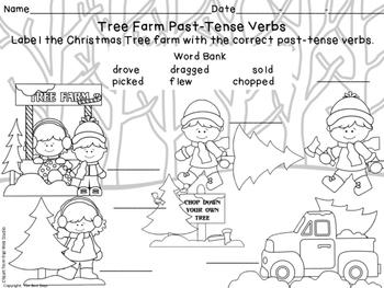 Verb Freebie Past-Tense Christmas Tree Shopping