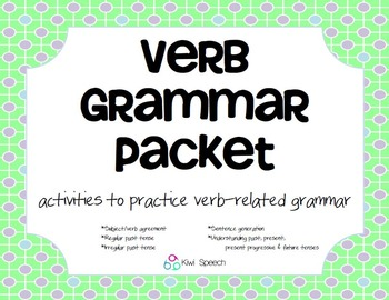 Verb Grammar Packet - activities for regular and irregular