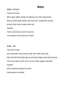 Verb + Infinitive or + Gerund  Notes and Worksheet