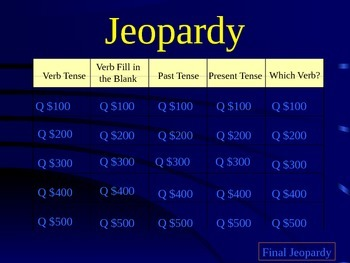 Verb Jeopardy Game
