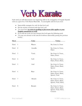 Verb Karate Challenge for Spanish