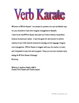 Verb Karate Challenge for Spanish