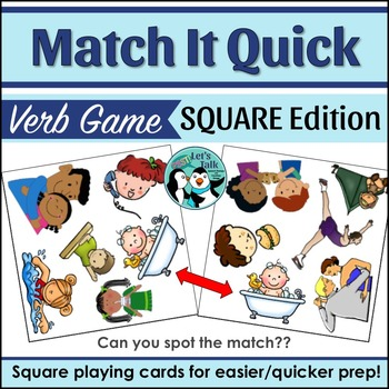 Verb Match It Quick Game - Square Edition