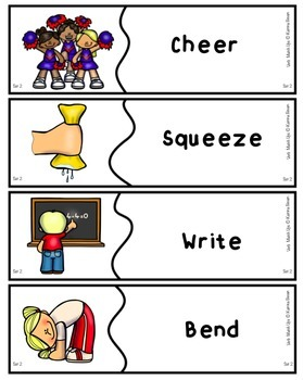 Verb Match Ups for speech and language therapy
