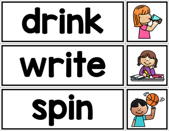Verb Matching Cards - Pictures and Words