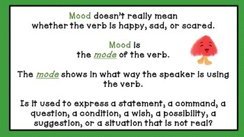 Verb Mood Instructional PowerPoint  - Common Core aligned