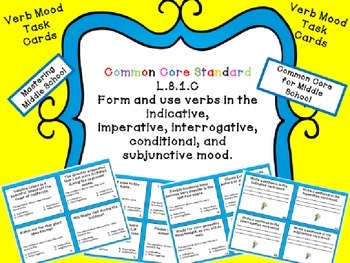 Verb Mood Task Cards - Common Core aligned