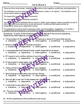 Verb Mood - a Common Core worksheet by Mastering Middle School | TpT