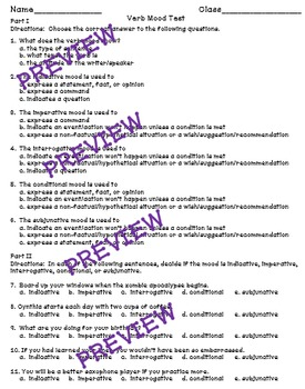 Verb Mood - a Common Core worksheet and assessment bundle