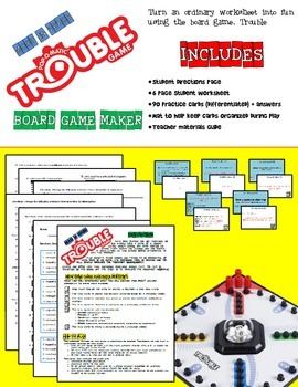 Verb Mood practice with TROUBLE! board game
