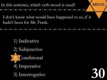 Verb Moods: Anne Frank PowerPoint Jeopardy