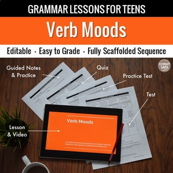 Verb Moods: Scaffolded Grammar Lesson, Quiz, & Test Set