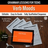 Verb Moods: Scaffolded Grammar Lesson, Quiz, & Test Set