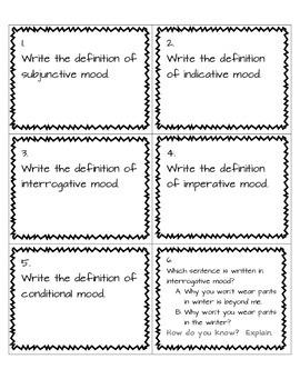 Verb Mood Task Cards