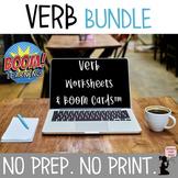 Verb No Prep-No Print BUNDLE - Verb Worksheets & BOOM Cards™ Distance Learning