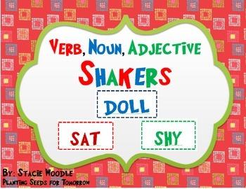 Verb, Noun, Adjective Shakers