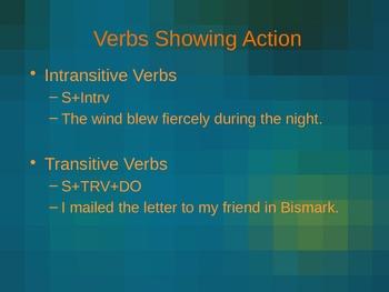 Verb Overview Power Point Presentation