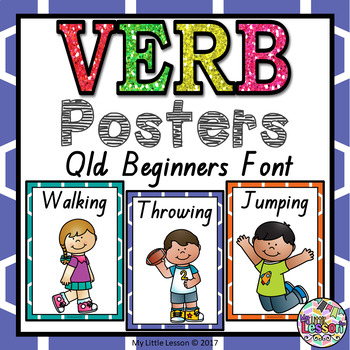 Verb Posters QLD Beginners Font