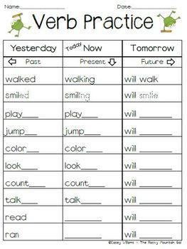 Verb Practice - Past, Present, Future Tense