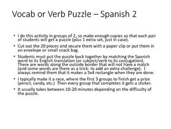 Verb Puzzle- Spanish 2: regular preterit, irregular preter