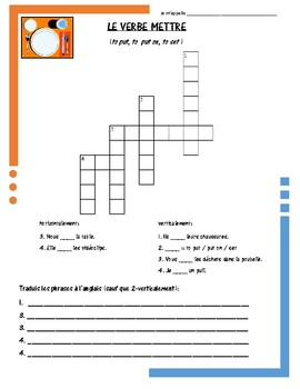 French Irregular Verb Puzzles - METTRE