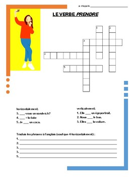 French Irregular Verb Puzzles - PRENDRE