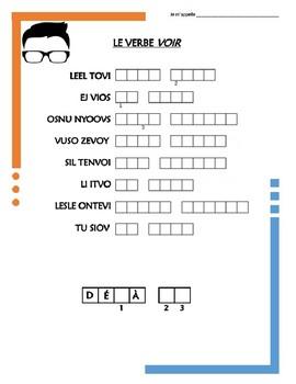 French Irregular Verb Puzzles - VOIR