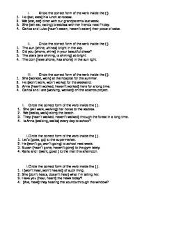 Verb Quiz Grade 4