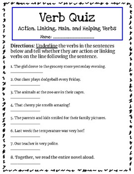 Verb Quiz Main Helping Action And Linking Verbs