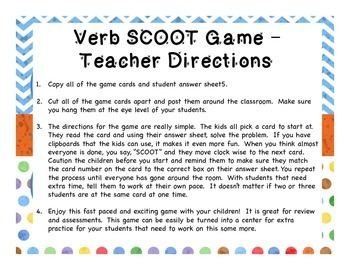 Verb SCOOT!  So fun to practice identifying verbs!  Gr. 1-3 Common Core Aligned