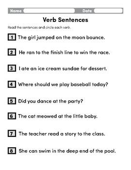 Verb Sentences