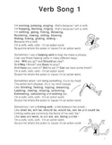 Verb Song Poster from Grammar Songs by Kathy Troxel/Audio Memory
