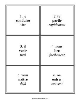 Verb Sprint: French verbs in the Passé Composé and the Imparfait