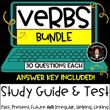 Verb Study Guide & Test BUNDLE- Irregular, Helping, Linkin