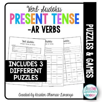 Verb Sudoku - Present Tense -AR Verbs (Word Puzzle)