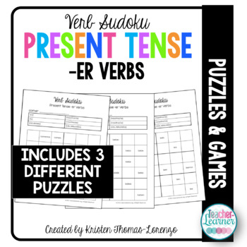 Verb Sudoku - Present Tense -ER Verbs (Word Puzzle)