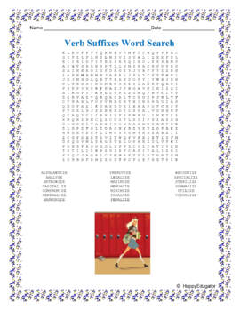 Verb Suffixes Spelling Word Search Puzzle